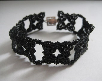 Black, Black and Black Bracelet Beadwoven by Margaret Ellison