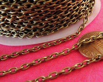 Antique Bronze cable chain, antique Bronze finished Iron, 10 feet, 3.9mmx2.8mm, chn803
