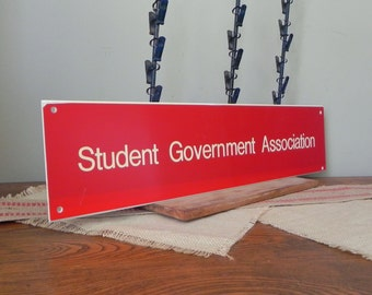 Vintage scholastic varsity student government sign - graphic club - red and white