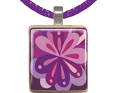 Scrabble Pendant - Purple FLOWER BURST