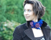 Necklace with felted wool flowers blue purple, pick your favorite color