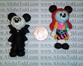 Nightmare Before Christmas Inspired - Mickey and Minnie - Polymer Clay Pendants- Ready to Ship