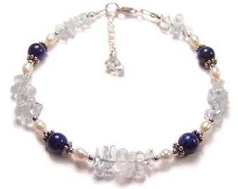 Lapis Lazuli, Topaz and Pearls Sterling silver bracelet - sapphire blue Topaz Bali silver