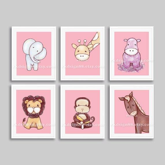 Nursery art prints, baby girl nursery decor, safari animals, kids wall art, children decor, elephant giraffe lion monkey pink set, 6 prints