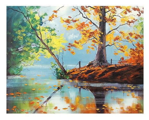 Impressionista dipinto lago autunno olio su tela paesaggio for Quadri semplici