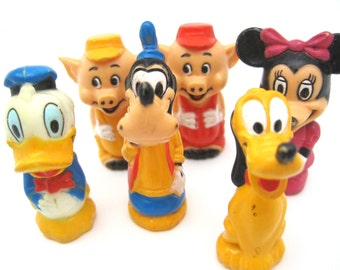 Vintage Disney Figurine Pencil Toppers - Minnie, Goofy, Pluto, Donald and two Pigs