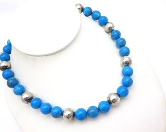 Turquoise Bead Necklace - Silver Toggle Clasp