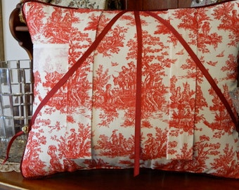 Reading Book Pillow with Scenes of Rustic Country Toile in Red and White