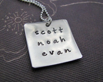 custom silver square name necklace