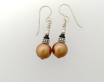 Swarovski Crystal 12 mm Copper Pearl Earrings with Sterling Silver