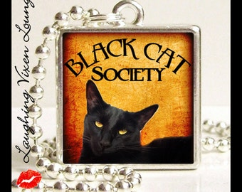 Black Cat Jewelry - Black Cat Necklace - Black Cat Society Style-A Small Pendant - Square Or Round - Witch Necklace - Witch Jewelry