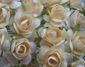 Paper Millinery Flowers 24 Petite Roses In Buttercream