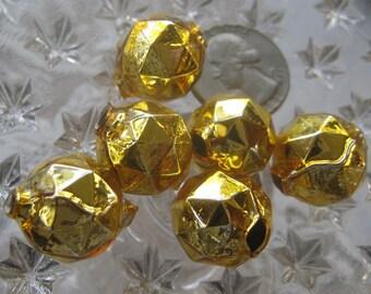 6 Glass Garland Beads Faceted Gold Christmas Garland Beads Czech Republic 18mm 030G