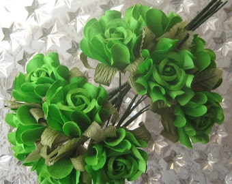 10 Handmade Paper Millinery Country Roses In Apple Green