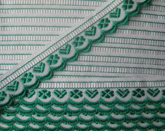 Czech Republic Woven Green Embroidered Cotton Trim 20mm 2 Yards  Folk Costume Trim