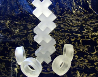 Glass Letters X and O Thick and Sturdy Set of Nine   five X and 4-O's        to create with