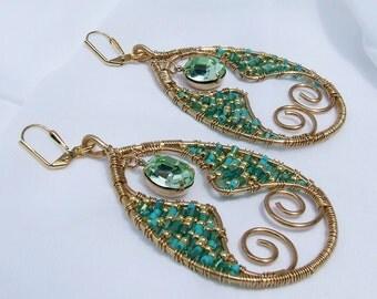 Statement Earrings, Blue green beaded earrings with Swarovski Chrysolite Opal