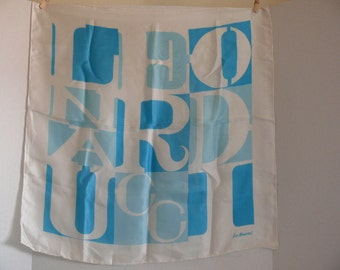 Silk Scarf - Turquoise and White - Leo Narducci - Hand Rolled Hem