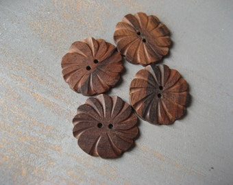 brown flower wood buttons, brown wood buttons flat round carved  buttons, exotic natural   - indonesia - 6  pcs /  24  MM - 4bbu12