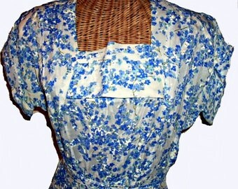30s, 40s Organza Blue Flower Dress, Prettiest Floral, Sweet and Romantic, 38 Bust