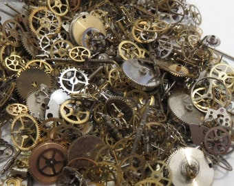 50g  STEAMPUNK Gears LOT BEST Parts Pieces  Mix in Pics Pocket Watch Wheels