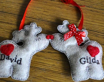 Reindeer couple personalized felt  Christmas ornaments