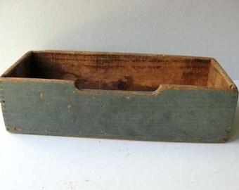 Antique Wooden Country Office, Files, Storage, Planter Box in Old Blue Paint c 1920's, Rustic Box