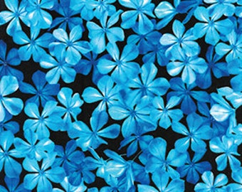 Flowers Jasmine Blue Benartex Fabric 1 yard
