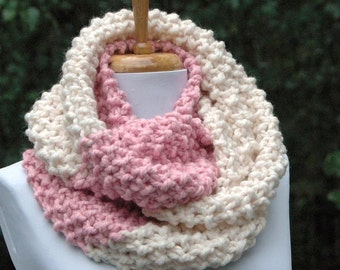 Chunky Knit Infinity Scarf, Circle Scarf, Knitted Scarf, Pink & Cream Colorblock Scarf, Hand Knit Infinity Scarf,  Women's Scarf, Knit Scarf