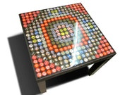 Recycled Bottle Cap Coffee Table Small / Black table, clear acrylic top / Magnetic Top