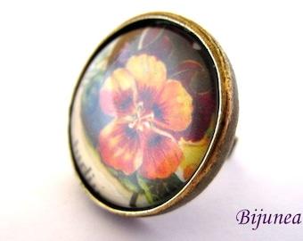 Flower ring - Spring Flowers ring - Adjustable flower ring - Red flower ring - Nature flower ring r771