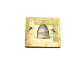 Beehive Brooch, Wooden Brooch, Bee hive Illustration, Wood Jewelry