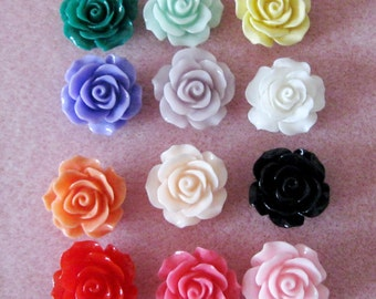 Resin Ruffled Rose Flower Beads with Hole Choose your Colors 18mm 926