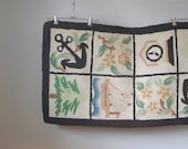 Vintage Nautical Hooked Rug, Vintage Throw Rug, Nautical, Home Decor, Antique Rug