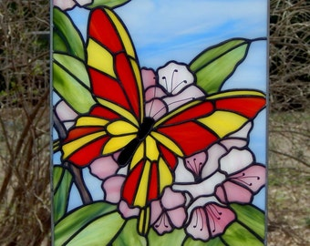 Butterfly in Rhododendron  Stained Glass Panel