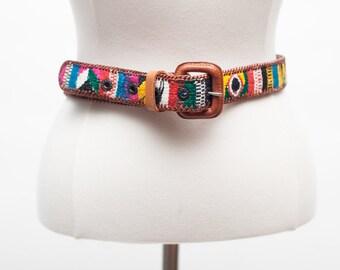 Southwestern Vintage Leather Belt- Size 32