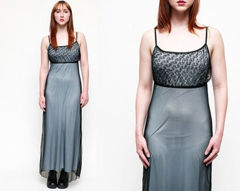 vintage 90s baby blue black sheer lacy overlay maxi dress  // GRUNGE REVIVAL //  size small