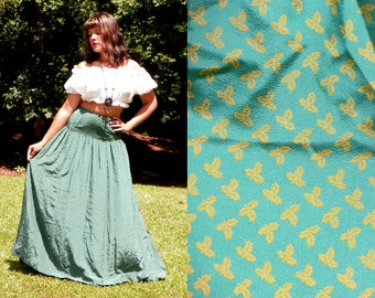 SALE 1970s Vintage Saks Fifth Avenue Teal High Waisted Maxi Skirt with Mustard Leaf Print with Pocket Boho Silk Maxi Skirt Size Extra Small
