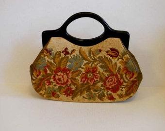 1950's Purse / Huge Vintage 50's Needlepoint Oversized Floral Bag