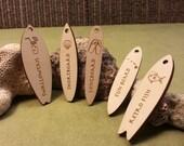 Personailzed mini surfboards - engraved wood, quantity 100