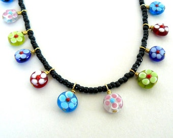 Multicolored Floral Necklace, Colorful Flower Necklace, Black and Bright Colored Flower Charm Necklace, Multi Colored Spring Jewelry