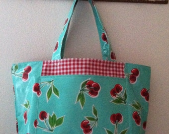 Beth's Big Retro Cherry Oilcloth Market Tote Bag with Exterior Pockets