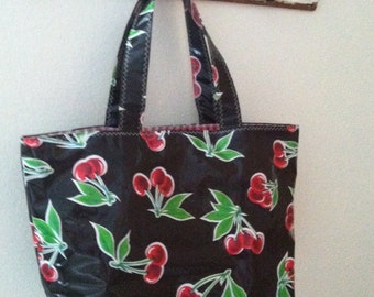 Beth's Large Black Cherry Oilcloth  Market Tote Bag
