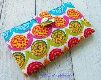 SALE - Handmade Long Wallet  BiFold Clutch - Vegan Wallet - Fun garden snail or half size unisex wallet