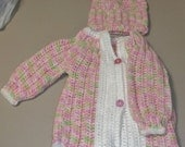 Handmade crochet baby girl sweater with Cap 3 to 6 months Pink print New