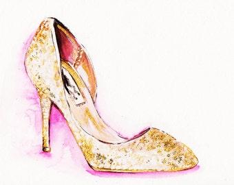 Print of Gold Glitter High Heel Fashion Illustration