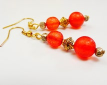 Orange Gold Earrings Antique Gold tone Dangle Earrings with Bright Orange Translucent Glass Bead Earrings