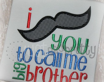 Mustache Big Brother Embroidery Applique Design