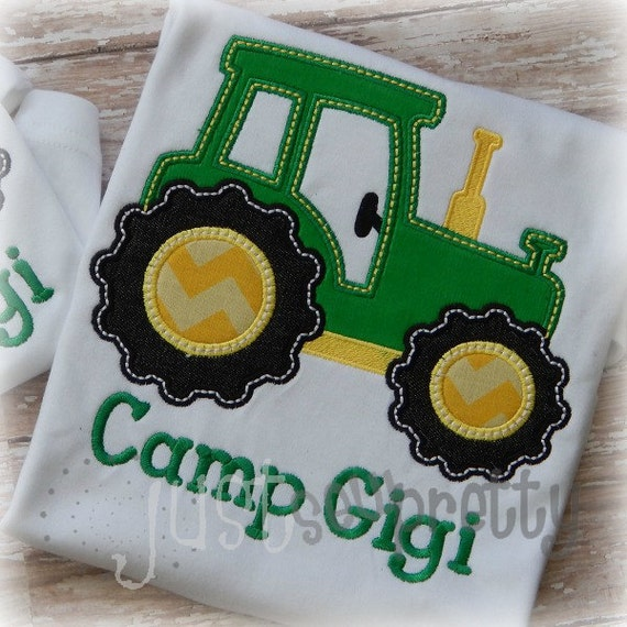 Cute tractor embroidery applique design