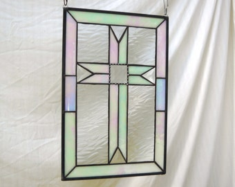 Stained Glass Panel with Iridescent and Bevel Cross, Wall Art or Window Hanging, Original Glass Art, Religious Art, Christianity Home Decor